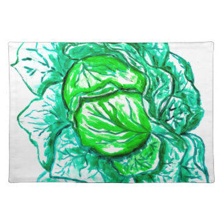 Green Cabbage Watercolor 2 Place Mats
