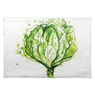 Green Cabbage Watercolor Place Mats