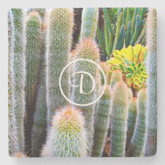 Green cacti photo custom monogram stone coaster