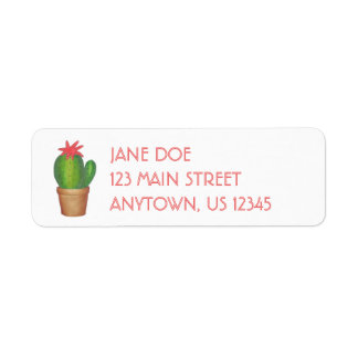 Green Cactus Flower Potted Plant Address Labels