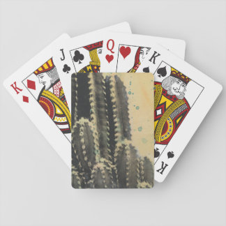 Green Cactus on Yellow Background Playing Cards
