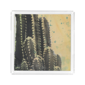 Green Cactus on Yellow Background Serving Tray