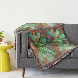 Green Cactus Plant Throw Blanket