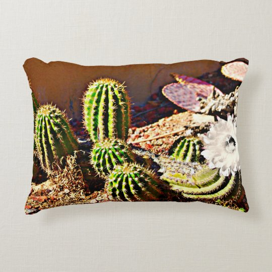 Green Cactus with White Bloom Throw Pillow