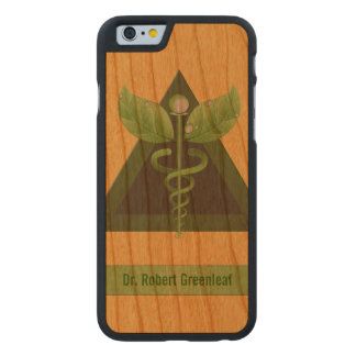 Green Caduceus Alternative Medicine Icon Carved Cherry iPhone 6 Case