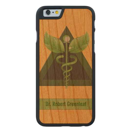 Green Caduceus Alternative Medicine Icon Carved Cherry iPhone 6 Case
