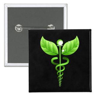 Green Caduceus Alternative Medicine Medical Symbol 2 Inch Square Button