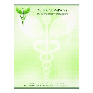 Green Caduceus Alternative Medicine Medical Symbol Letterhead
