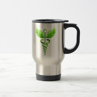Green Caduceus Alternative Medicine Medical Symbol Travel Mug