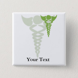 green caduceus medical gifts 2 inch square button