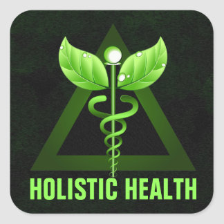 Green Caduceus Symbol Holistic Health Icon Square Sticker
