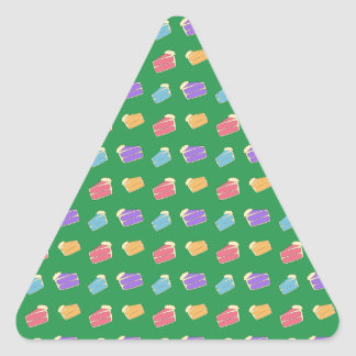Green cake pattern triangle sticker