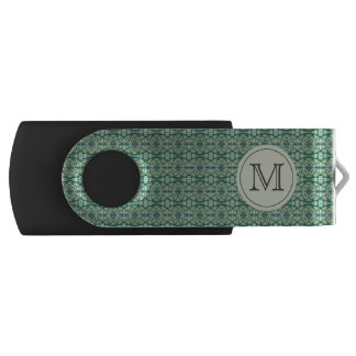 Green Caladium Monogram USB Thumb Drive