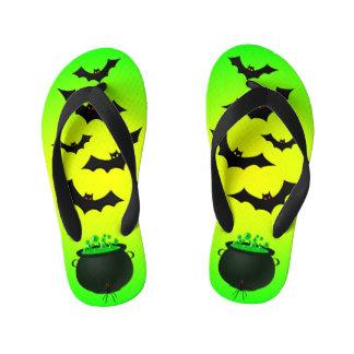 Green Caldron and Bats Kid's Flip Flops
