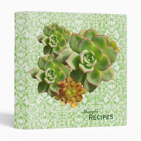 Green Calico Succulent Recipe 3 Ring Binder