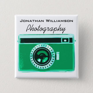 Green Camera Photography Business 2 Inch Square Button