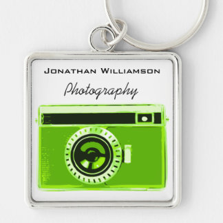 Green Camera Photography Business Silver-Colored Square Keychain