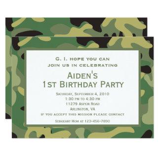 Green Camo   Birthday Party Invitation
