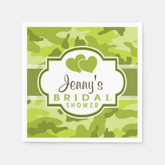 Green Camo, Camouflage Bridal Shower Paper Napkin