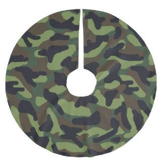Green Camo Camouflage Christmas Brushed Polyester Tree Skirt