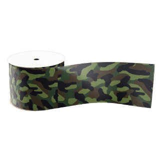 Green Camo Camouflage Grosgrain Ribbon