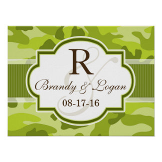 Green Camo, Camouflage Wedding Poster