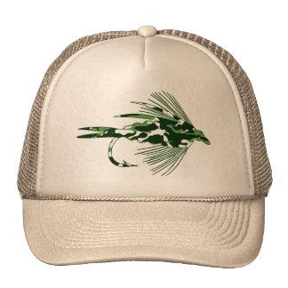 GREEN CAMO FLY FISHING LURE MESH HAT