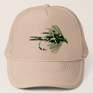 GREEN CAMO FLY FISHING LURE TRUCKER HAT