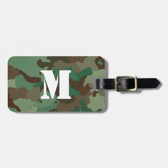 Green Camo Luggage Tag with White Monogram