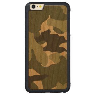 Green Camo Military Cool Wood iPhone 6 6S Plus Carved Cherry iPhone 6 Plus Bumper Case