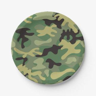Green Camo Paper Plate