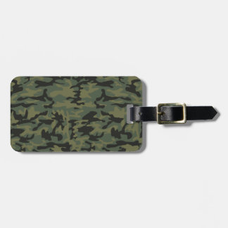 Green camo pattern luggage tag