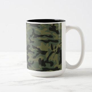 Green camo pattern Two-Tone coffee mug