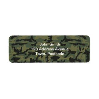 Green camo pattern return address label