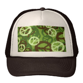 Green Camo/Peace Signs Hat