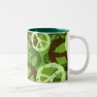 Green Camo/Peace Signs Mug