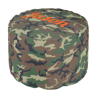 Green Camo Personalize Big Footstool Pouf