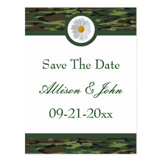 Green Camo Save The Date Postcard
