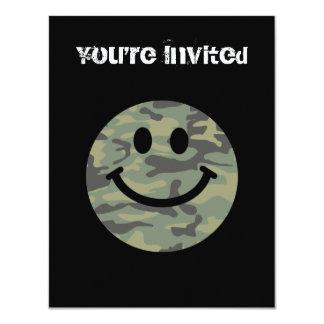"Green Camo Smiley Face 4.25"" X 5.5"" Invitation Card"