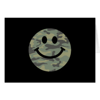 Green Camo Smiley Face Card