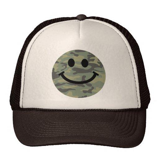 Green Camo Smiley Face Mesh Hat