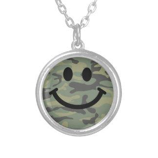 Green Camo Smiley Face Silver Plated Necklace