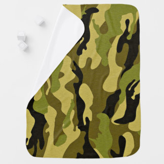 Green camouflage army texture baby blanket