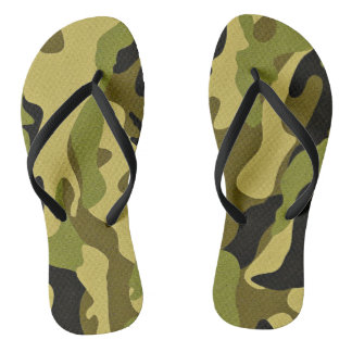 Green camouflage army texture flip flops