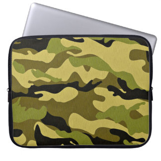Green camouflage army texture laptop sleeve