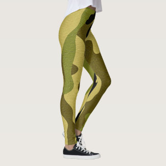 Green camouflage army texture leggings