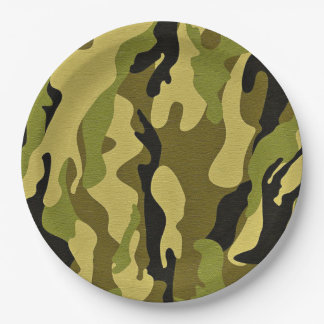 Green camouflage army texture paper plate