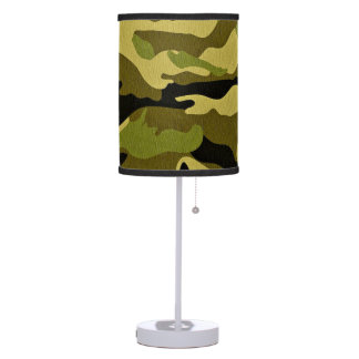 Green camouflage army texture table lamp