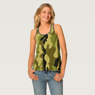Green camouflage army texture tank top
