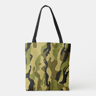 Green camouflage army texture tote bag